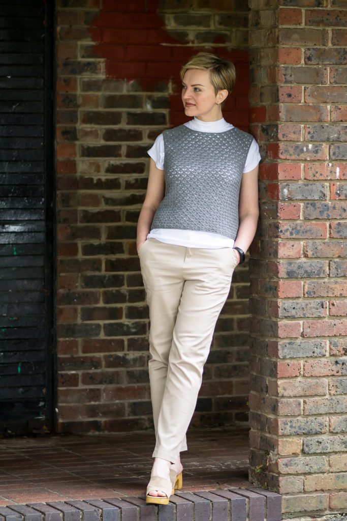 Gamine + White Polo-Neck T-Shirt + Chinos
